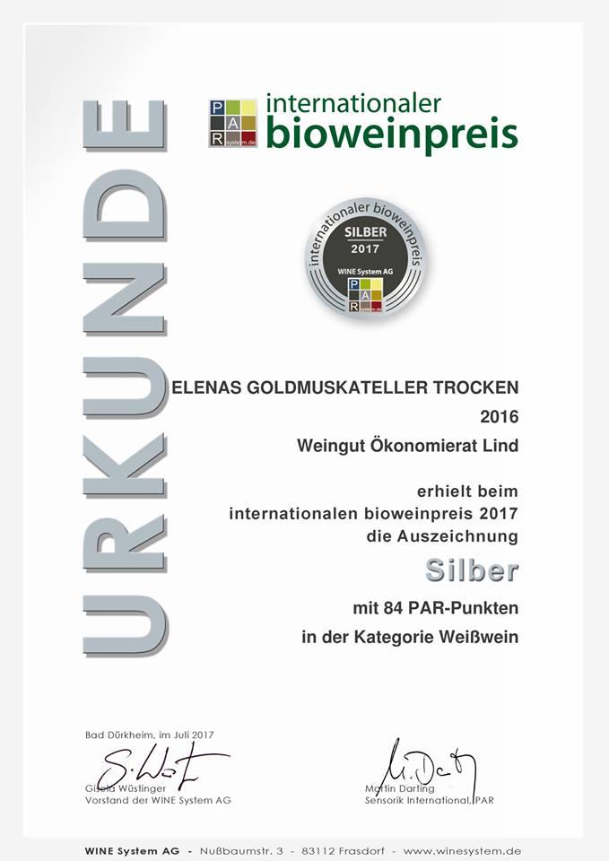 Internationaler Bioweinpreis Elenas Goldmuskateller 2016 - Silber