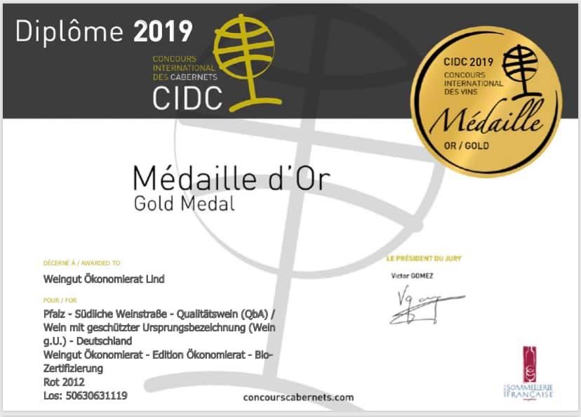 Gold Medal International Cabernet Award in Paris
