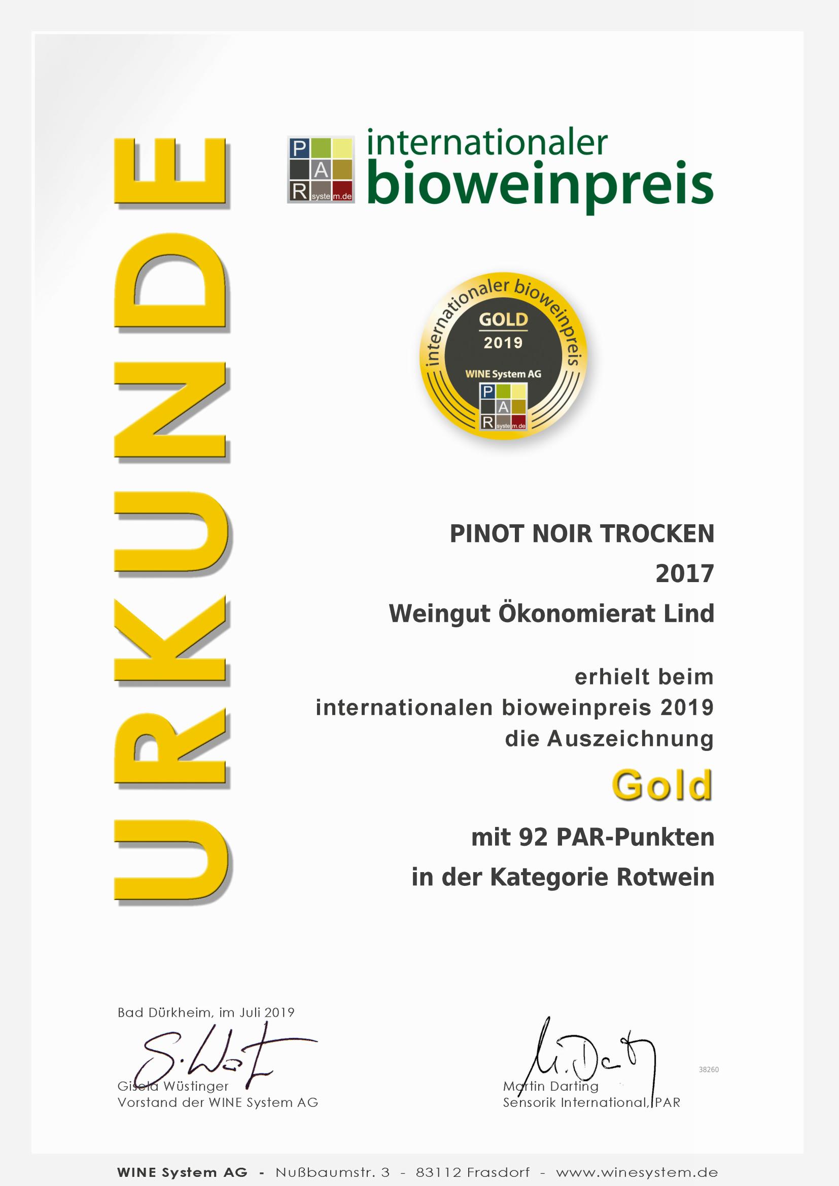 Internationaler Bioweinpreis Pinot Noir 2017 - Gold