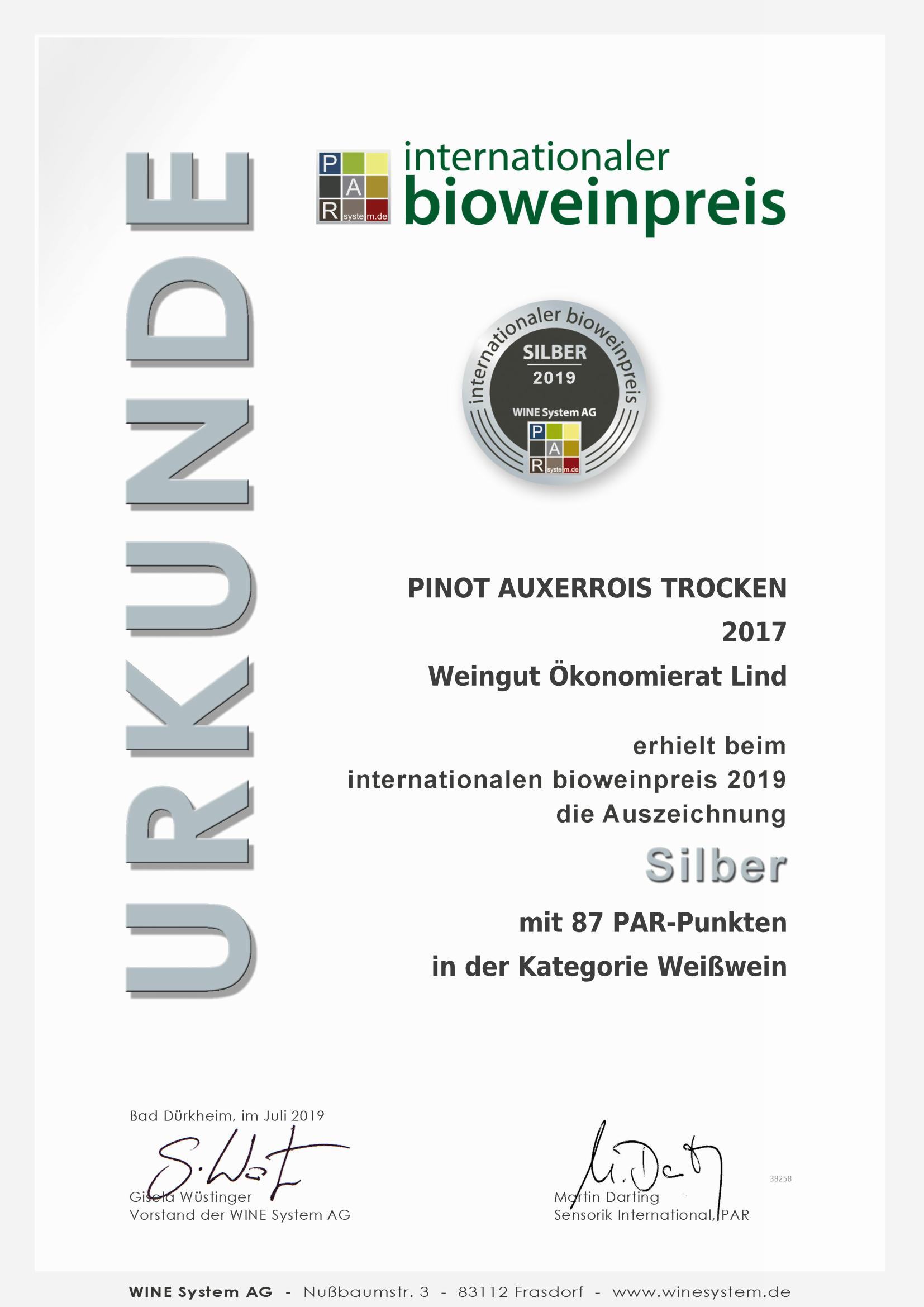 Internationaler Bioweinpreis Pinot Auxerrois 2017 - Silber