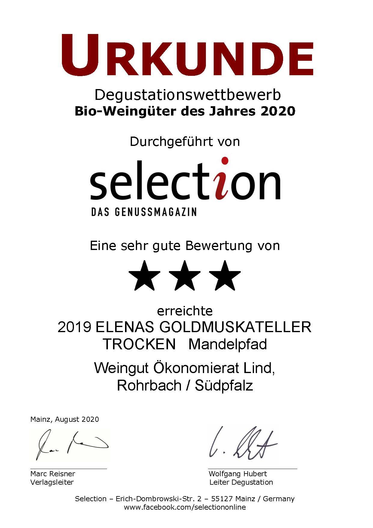 Nr. 01 - ELENAS GOLDMUSKATELLER TROCKEN - 3 Sterne