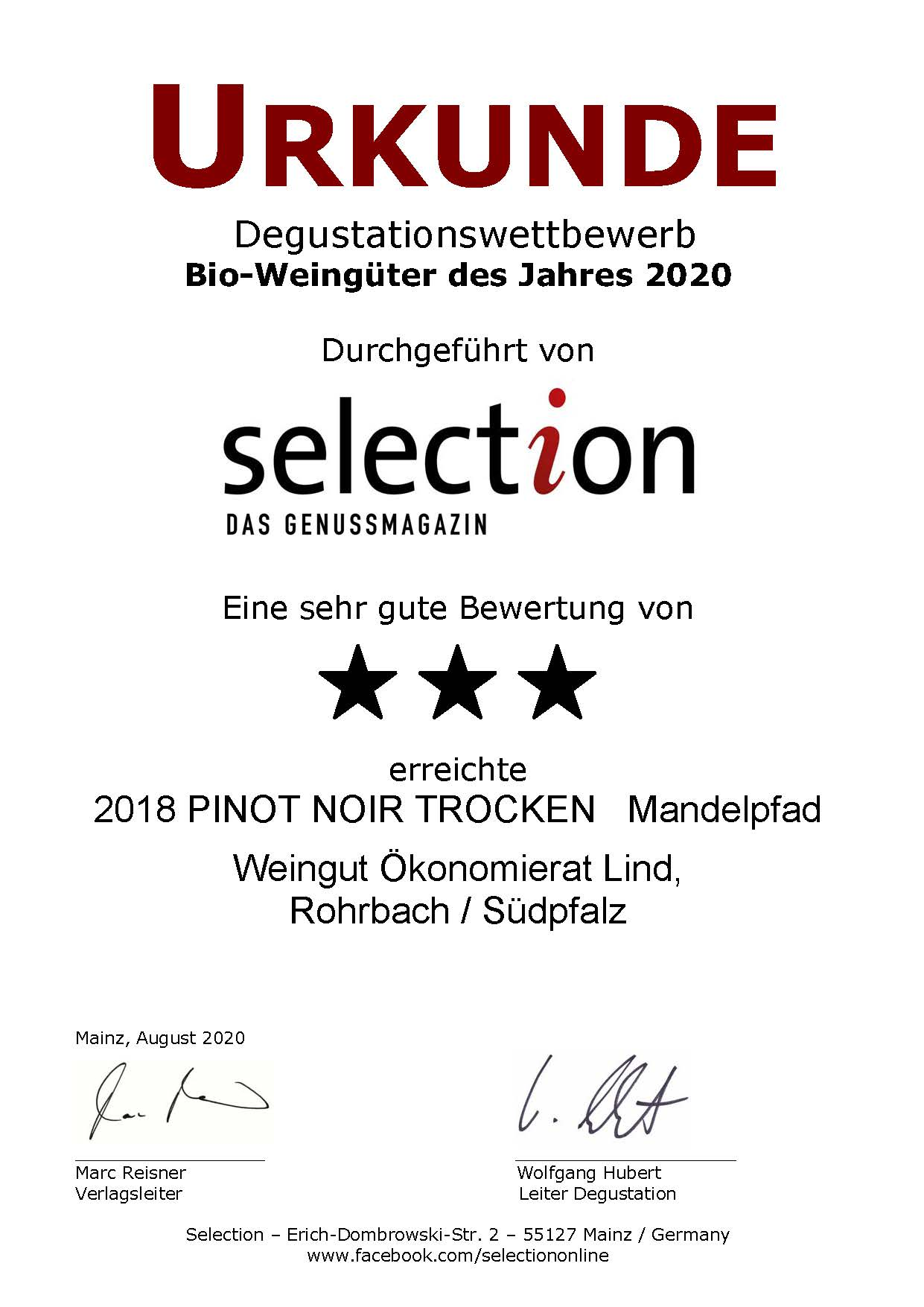Nr. 27 - PINOT NOIR TROCKEN - 3 Sterne