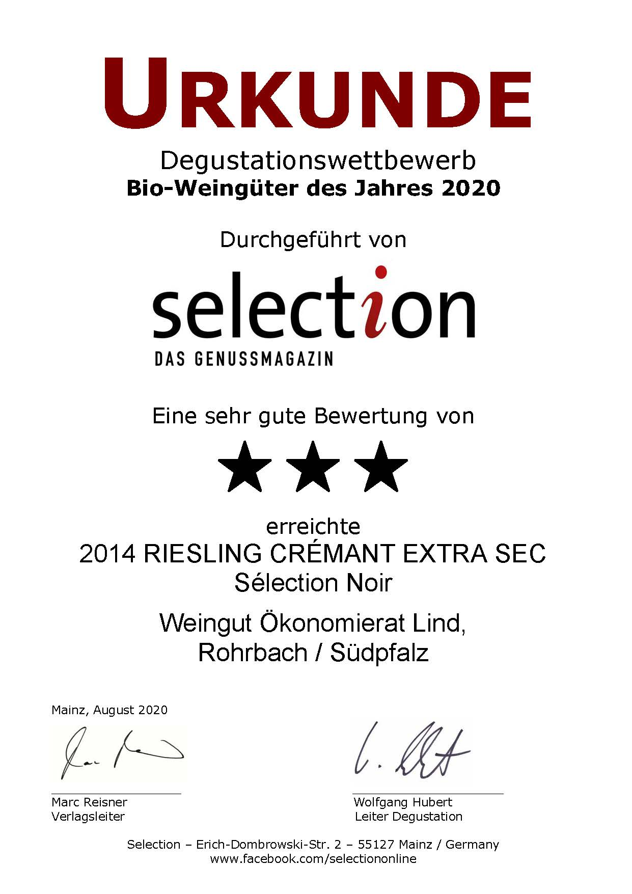 Nr. 31 - RIESLING CRÉMANT EXTRA SEC - 3 Sterne