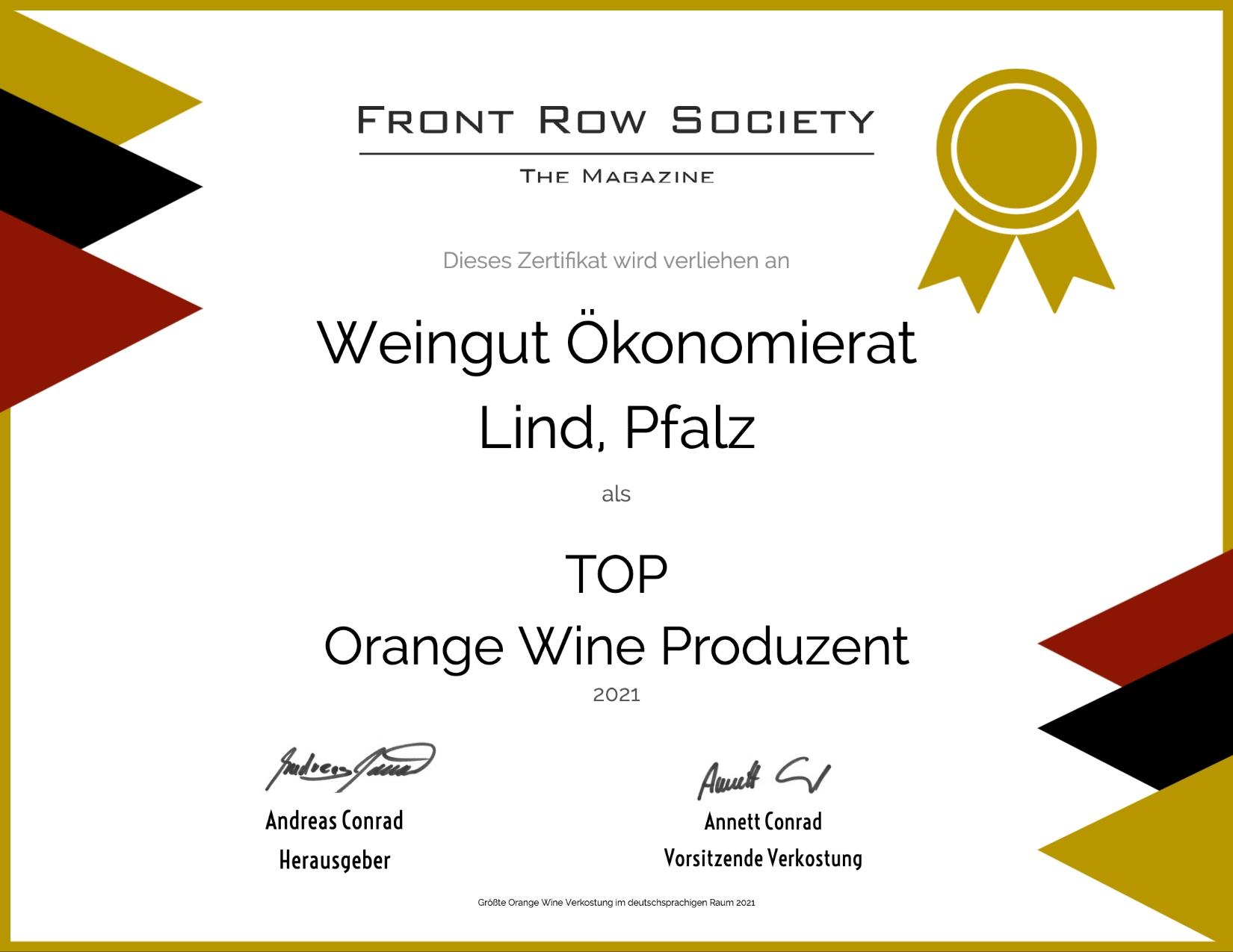 Front Row Society - Top Orange Wine Produzent